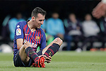 FC Barcelona's Sergio Busquets complains during La Liga match. March 02,2019. (ALTERPHOTOS/Alconada)
