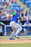 Lexington Legends first baseman Nick Pratto (30) swings at a pitch during a game against the Asheville Tourists at McCormick Field on May 25, 2018 in Asheville, North Carolina. The Tourists defeated the Legends 6-4. (Tony Farlow/Four Seam Images)