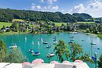 Oesterreich, Salzburger Land, Flachgau, Mattsee: Blick vom Schloss-Cafe ueber den Mattsee   Austria, Salzburger Land, region Flachgau, Mattsee: view from Castle-Cafe across Lake Mattsee