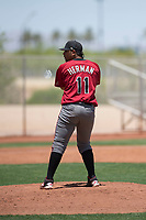 Arizona Diamondbacks relief pitcher Omar Herman (11) prepares to deliver a pitch during an Extended Spring Training game against the Cleveland Indians at the Cleveland Indians Training Complex on May 27, 2018 in Goodyear, Arizona. (Zachary Lucy/Four Seam Images)