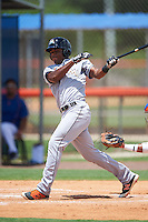 GCL Marlins right fielder Stone Garrett (9) at bat during a game against the GCL Mets on August 12, 2016 at St. Lucie Sports Complex in St. Lucie, Florida.  GCL Marlins defeated GCL Mets 8-1.  (Mike Janes/Four Seam Images)