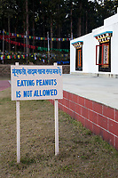 India, Dehradun.  Buddhist Temple of Dehradun and Mindrolling Monastery.  No Peanuts Allowed on the Grounds of the Monastery (to prevent having to clean up shells).