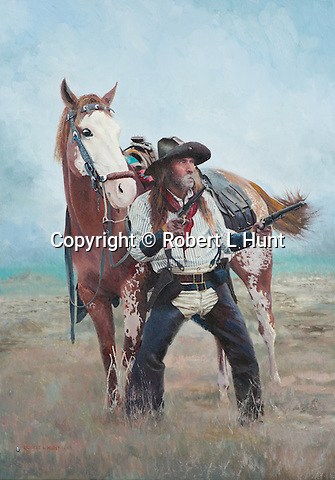 """Cowboy pulls his pistols ready for a shoot out in the American Wild West, while his paint horse looks on. Oil on canvas, 24 x 17""""."""