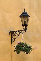 Poland, Krakow, Wrought iron street lamp