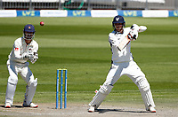 30th May 2021; Emirates Old Trafford, Manchester, Lancashire, England; County Championship Cricket, Lancashire versus Yorkshire, Day 4; George Hillof Yorkshire gets one away to the off side as Lancashire keeper Dane Vilas looks on from behind the stumps
