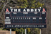 The Belmont Abbey Crusaders played host to the Shippensburg Raiders in NCAA Division II baseball action at Abbey Yard on February 8, 2015 in Belmont, North Carolina.  The Raiders defeated the Crusaders 14-0.  (Brian Westerholt/Four Seam Images)