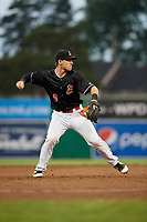 Batavia Muckdogs third baseman Denis Karas (9) throws to first base for the final out of the game against the West Virginia Black Bears on June 18, 2018 at Dwyer Stadium in Batavia, New York.  Batavia defeated West Virginia 9-6.  (Mike Janes/Four Seam Images)