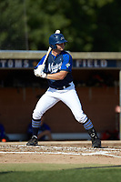 Will Knight (2) (Virginia Military Institute) of the Martinsville Mustangs at bat against the High Point-Thomasville HiToms at Finch Field on July 26, 2020 in Thomasville, NC.  The HiToms defeated the Mustangs 8-5. (Brian Westerholt/Four Seam Images)