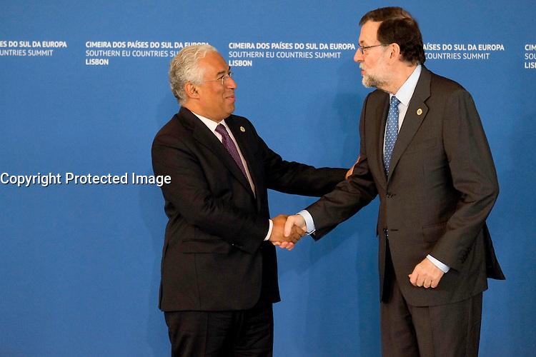 Mariano Rajoy - Antonio Costa - SOMMET DES PAYS DU SUD DE L'UNION EUROPEENNE