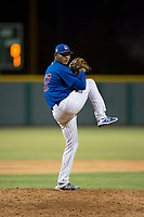 AZL Cubs 1 relief pitcher Riger Fernandez (47) delivers a pitch during an Arizona League game against the AZL Padres 1 at Sloan Park on July 5, 2018 in Mesa, Arizona. The AZL Cubs 1 defeated the AZL Padres 1 3-1. (Zachary Lucy/Four Seam Images)