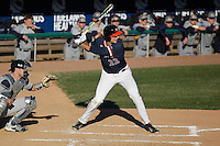 University of Virginia Cavaliers shortstop Daniel Pinero (22) at bat during a game against the Kent State Golden Flashes at Ticketreturn.com Field at Pelicans Ballpark on February 19, 2016 in Myrtle Beach, South Carolina. Virginia defeated Kent State 8-6. (Robert Gurganus/Four Seam Images)
