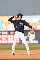 Chan-Jong Moon (3) of the Lancaster JetHawks makes a throw during a game against the Modesto Nuts at The Hanger on April 25, 2015 in Lancaster, California. Lancaster defeated Modesto, 5-4. (Larry Goren/Four Seam Images)