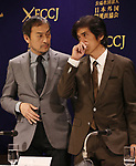 """March 4, 2020, Tokyo, Japan - Japanese actors Ken Watanabe (L) and Koichi Sato (R) pose for photo as they attend a press conference for their latest movie """"Fukushima 50"""" at the Foreign Correspondents' Club of Japan in Tokyo on Wednesday, March 4, 2020. Fukushima 50, a movie of TEPCO workers' 5-day struggle for tsunami crippled Fukushima dai-ichi niclear plant will be screening in Japan on March 6.   (Photo by Yoshio Tsunoda/AFLO)"""