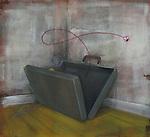 Empty briefcase in a corner