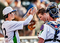 20 June 2021: Vermont Lake Monsters outfielder Sky Rahill (18), from Burlington, VT, is greeted by teammates at the dugout after hitting his 8th inning home run during a game against the Westfield Starfires at Centennial Field in Burlington, Vermont. Rahill went 1 for 2 with his homer accounting for all the team scoring as the Lake Monsters fell to the Starfires 10-2 at Centennial Field, in Burlington, Vermont. Mandatory Credit: Ed Wolfstein Photo *** RAW (NEF) Image File Available ***
