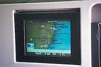Display on back of airplane seat showing aircraft location<br />