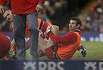 Mike Phillips who was dropped from the starting line up, warms up with the replacements.<br /> RBS 6 Nations 2014<br /> Wales v France<br /> Millennium Stadium<br /> 21.02.14<br /> <br /> ©Steve Pope-SPORTINGWALES