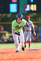 Pavin Smith (47) of the Hillsboro Hops runs the bases during a game against the Spokane Indians at Ron Tonkin Field on July 23, 2017 in Hillsboro, Oregon. Spokane defeated Hillsboro, 5-3. (Larry Goren/Four Seam Images)