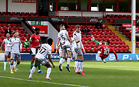 10th October 2020; Bescot Stadium, Walsall, West Midlands, England; English Football League Two, Walsall FC versus Colchester United; Josh Gordon of Walsall  comes close to a goal with an acrobatic shot