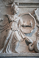 2nd Cent. AD Roman relief sculpture depicting the struggle of Athena ( the goddess of wisdom, skill & warfare) fighting the Gigantes ( Giants) . From Aphrodisias (Geyne, Ayden) Turkey. Istanbul Archaeological Museum, Turkey, Inv. 1613aT , Cat. Mendel 512.