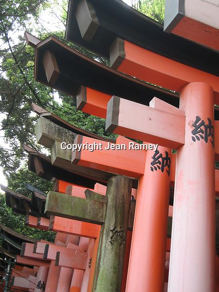 Torii gates at Fushimi Inari Shrine - Kyoto,  Japan