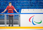 Sochi, RUSSIA - Mar 1 2014 -  Derek Whitson checks out the rink before the team's first practice prior to the 2014 Paralympics in Sochi, Russia.  (Photo: Matthew Murnaghan/Canadian Paralympic Committee)