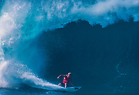 Pipeline, North Shore, Oahu, Hawaii. Cheyne Horan (AUS) surfing Pipeline during the Pro. He finished =3rd in the event. Horan had already won the Billabong Pro Hawaii at Sunset Beach in the North Shore Winter surf season of 1989-1990. Photo:joliphotos