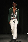 Model Youssef walks runway in an outfit from the Linder Spring Summer 2017 collection by Sam Linder and Kirk Millar on July 11 2016, during New York Fashion Week Men's Spring Summer 2017.