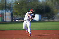 Tyler McKnight (47), from Rapid City, South Dakota, while playing for the Nationals during the Under Armour Baseball Factory Recruiting Classic at Red Mountain Baseball Complex on December 29, 2017 in Mesa, Arizona. (Zachary Lucy/Four Seam Images)
