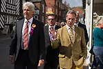 © Joel Goodman - 07973 332324 . 24/04/2014 . Knutsford , UK . UKIP leader NIGEL FARAGE (r) on a walkabout tour of Knutsford on the European election campaign trail with former UKIP candidate for Wythenshawe and Sale East , John Bickley (l). Farage has come under fire in recent days over a controversial UKIP billboard campaign . Photo credit : Joel Goodman