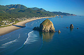 Haystack Rock on Pacific coast beach