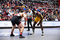 STANFORD, CA - March 7, 2020: Tyler Eischens of Stanford and Jacori Teemer of Arizona State University during the 2020 Pac-12 Wrestling Championships at Maples Pavilion.