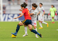 ORLANDO, FL - MARCH 05: Ivana Andres Sanz #5 of Spain fights for the ball with Mina Tanaka #15 of Japan during a game between Spain and Japan at Exploria Stadium on March 05, 2020 in Orlando, Florida.