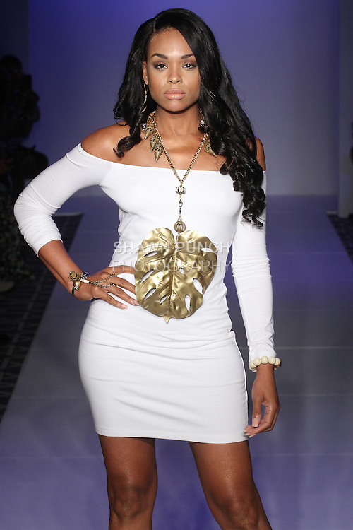Model walks runway in jewelry from the Tsion Rocks Spring Summer 2016 collection by Yvette Crocker, at Fashion Gallery NYFW Spring 2016, during New York Fashion Week.