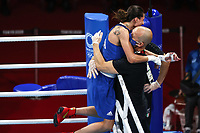 210728 -- TOKYO, July 28, 2021 -- Irma Testa L of Italy celebrates with coach after winning the boxing women s feather 54-57kg quarterfinal against Caroline Veyre of Canada at the Tokyo 2020 Olympic Games, Olympische Spiele, Olympia, OS in Tokyo, Japan, July 28, 2021.  TOKYO2020JAPAN-TOKYO-OLY-BOXING-WOMEN S FEATHER OuxDongqu PUBLICATIONxNOTxINxCHN <br /> Photo Imago  / Insidefoto ITALY ONLY
