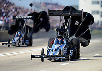 Sept. 23, 2012; Ennis, TX, USA: NHRA top fuel dragster driver J.R.Todd during the Fall Nationals at the Texas Motorplex. Mandatory Credit: Mark J. Rebilas-