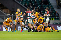21st May 2021; Twickenham, London, England; European Rugby Challenge Cup Final, Leicester Tigers versus Montpellier; Matias Moroni of Leicester Tigers grabs the ball as Genge comes in to suport