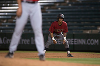 AZL Diamondbacks pinch runner Marshawn Taylor (11) takes a lead off first first during an Arizona League game against the AZL Angels at Tempe Diablo Stadium on June 27, 2018 in Tempe, Arizona. The AZL Angels defeated the AZL Diamondbacks 5-3. (Zachary Lucy/Four Seam Images)