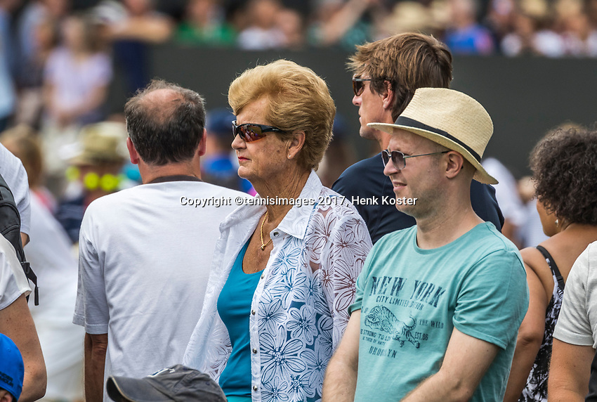 London, England, 6 th July, 2017, Tennis,  Wimbledon, Women's doubles: Betty Stove (NED) as spectator, 40 years ago in 1977 she was in tree final at Wimbledon<br /> Photo: Henk Koster/tennisimages.com