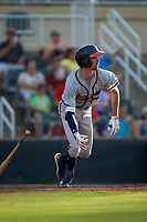 Braden Shewmake (39) of the Rome Braves starts down the first base line against the Kannapolis Intimidators at Kannapolis Intimidators Stadium on July 2, 2019 in Kannapolis, North Carolina.  The Intimidators walked-off the Braves 5-4. (Brian Westerholt/Four Seam Images)