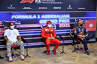 5th June 2021;  F1 Grand Prix of Azerbaijan. Press conference for 44 Lewis Hamilton GBR, Mercedes-AMG Petronas F1 Team, 16 Charles Leclerc MON, Scuderia Ferrari Mission Winnow, 33 Max Verstappen NED, Red Bull Racing, F1 Grand Prix of Azerbaijan at Baku City Circuit