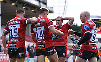 30th August 2020; Kingsholm Stadium, Gloucester, Gloucestershire, England; English Premiership Rugby, Gloucester versus Leicester Tigers; Ollie Thorley of Gloucester celebrates with his team after scoring his third try