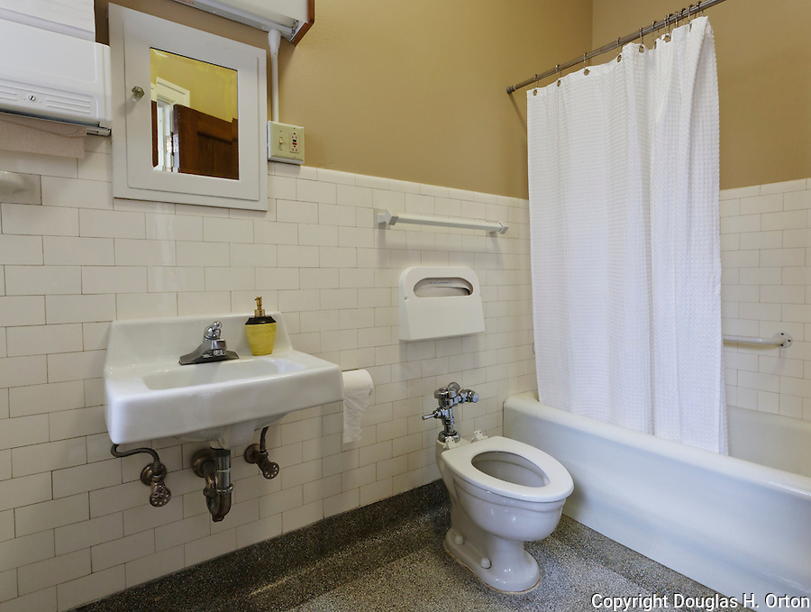 Vintage 1927 bathroom in residence hall.  Dating to 1927, the Masonic Retirement Center, locally known as the Masonic Home, in Des Moines, Washington is now an elegant event center available for rental.  In the historic Zenith neighborhood of the city of Des Moines. Please conact douglasorton@comcast.net regarding licensing of this image.