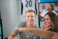 Orlando, FL - Saturday October 14, 2017: Abby Wambach signs autographs during the NWSL Championship match between the North Carolina Courage and the Portland Thorns FC at Orlando City Stadium.