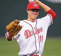 April 13, 2009: Outfielder Pete Hissey (16) of the Greenville Drive on the team's 2009 home opener against the Hickory Crawdads at Fluor Field at the West End in Greenville, S.C. Photo by: Tom Priddy/Four Seam Images