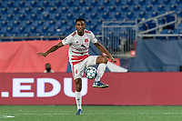 FOXBOROUGH, MA - AUGUST 21: Ivan Magalhaes #4 of Richmond Kickers collects a pass during a game between Richmond Kickers and New England Revolution II at Gillette Stadium on August 21, 2020 in Foxborough, Massachusetts.