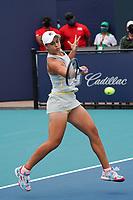 3rd April 2021; Miami Gardens, Miami, Florida, USA;   Ashleigh Barty (AUS) hits a forehand during the women's finals of the Miami Open on April 3, 2021, at Hard Rock Stadium in Miami Gardens, Florida.