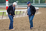JUNE 5, 2015: Trainer Bob Baffert examines the track before morning workouts in preparation for the 147th running of the Belmont Stakes at Belmont Park in New York, NY. Jon Durr/ESW/CSM