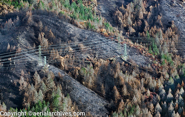 Electrical power transmission lines, Nun Fire in the Mayacama Mountains, Sonoma County, California, northern California wildfires, 2017.