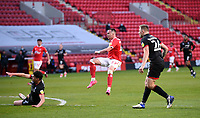 4th May 2021; The Valley, London, England; English Football League One Football, Charlton Athletic versus Lincoln City; Liam Millar shoots on goal past the block of Poole of Lincoln but saved